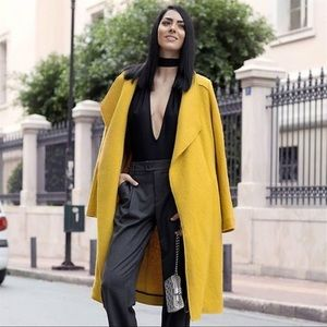 Zara mustard oversized coat
